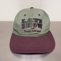 Vintage 90's Late Show with David Letterman Green and Maroon Snapback Dad Hat Hipster Style TV Talk Show Promotional Hat