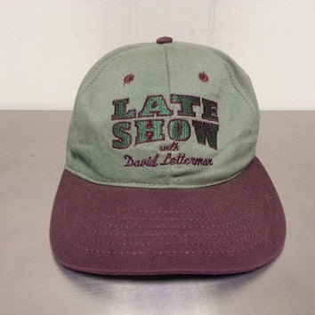 Vintage 90 s Late Show with David Letterman Green and Maroon Sna e2cfbc1244d