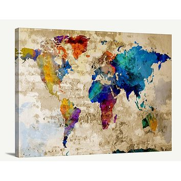 Map Art Watercolor World Map Canvas Print Large Colorful World Map Urban Watercolor World