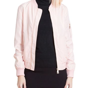 LE3NO Womens Lightweight Windbreaker Varsity Bomber Jacket with Pockets