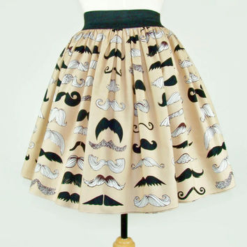 Mustache Custom Skirt Your Measurements/  Day of the Dead / Rockabilly/ Choose  Fabric /  / Senoritas  / Tattoo Art / Monsters / Frida Kahlo