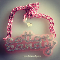 COTTON CANDY pastel pink and glitter word laser cut by didepux
