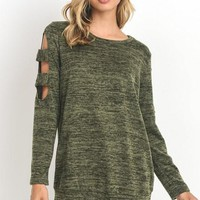 Olive Cut-Out Long Sleeve Top