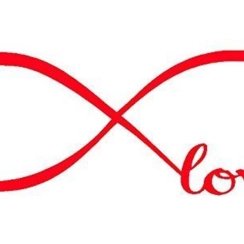 Red 7'' X 22'' Wall Stickers, Franterd Bedroom Decor Infinity Symbol Word Love Vinyl Art Decal