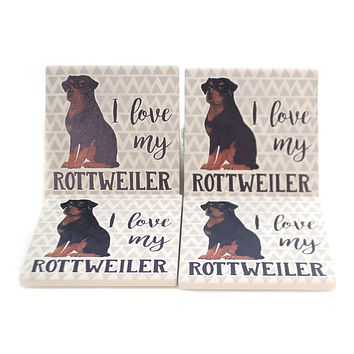 Tabletop ROTTWEILER COASTERS Stone Cork Back Absorbent Ss73979