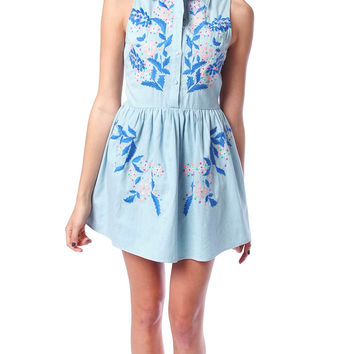 Country Flowers Denim Dress - Floral Print