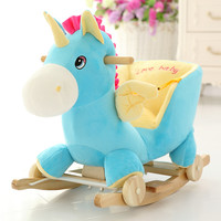 Hot sale rocking horse 2 in1 music carrier Ride On Horse unicorn Puzzle wooden wheel hobby eating Chair kids birthday brinquedos