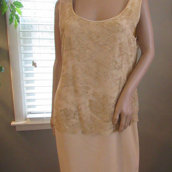 80s Mother of Bride / 80s Mother of Groom / Bridal Wear / Golden Ivory Sleeveless Dress / Special Occasion Dress / Tom Linda Platt Designs