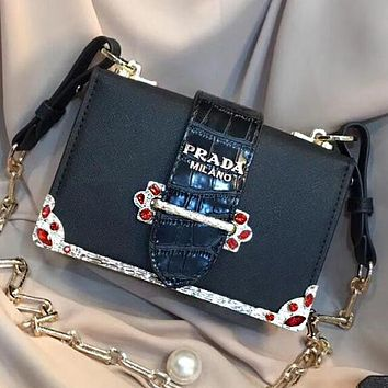 ''Prada'' Popular Women Shopping Bag Leather Crossbody Shoulder Bag Black I-WXZ2H