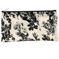Black and Ivory Toile Makeup Brush Bag