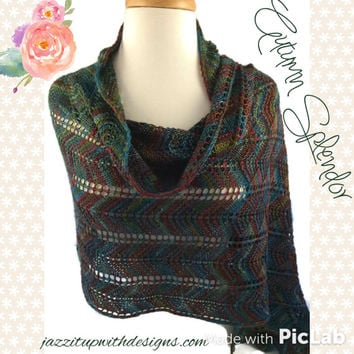 Hand Knit Shawl Wrap Wool/Silk/Polyamide blend Autumn Splendor colors