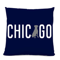 Chicago Labrador Pillow - Chicago Home Decor - Lab pillow - dog breed silhouette pillow - dog home decor - Dog Pillow - Navy Pillow