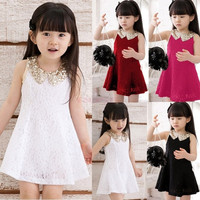 New Girls Kids Lace Sequin Party Dress Princess Sleeveless TuTu Skirt Sundress SV000883|26601 Children's Clothing = 1745447364