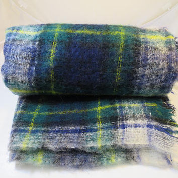 Vintage Tartan Plaid Woven Throw Afghan Navy Green White Yellow Scottish Tartan Plaid Throw Home Decor Den Family Room  47 x 69 in