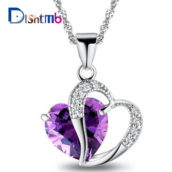2016 Top Class Women Girls Lady Heart Crystal  healing crystals Amethyst floating locket Pendant Necklace Jewelry Fashion CC07