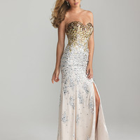 Nude Ombre Beaded Chiffon Strapless Sweetheart prom Dress - Unique Vintage - Cocktail, Pinup, Holiday & Prom Dresses.