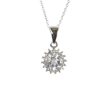"Sterling Silver Diamond & White Topaz Necklace - 6mm Round Stone, 18"" Chain"