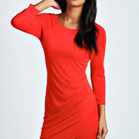 Katie Wrap Over Skirt 3/4 Sleeve Bodycon Dress