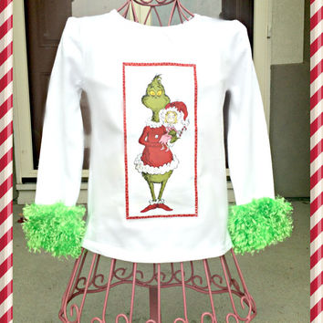 girls grinch Shirt dr seuss Cindy Lou Who with Grinchy Cuffs XS S M L XL 3 4 5 6 7 8 10 12 14 16 Womens plus 1x 2x 3x 4x
