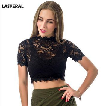 2016 New Lasperal Crop Top Women Hollow Out Sexy Lace Shirts Tops Spring Summer Harajuku Short Tank Tops Outwear Bralette Tops