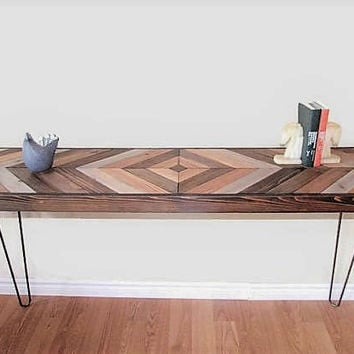 Reclaimed wood table with hairpin legs, sofa table, foyer table, desk, side table, chevron table, rustic table, entry table, mudroom table