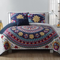 VCNY Ahimsa 4-Piece Quilt Set in Ivory/Purple