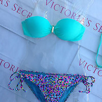 New Sexy Victoria's Secret Confetti  Bandeau Bikini Set 32A XS Green