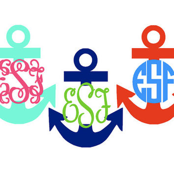 Anchor Monogram Sticker 4 inch by YouGotPersonal on Etsy
