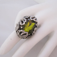 Vintage Green Ring Adjustable Ring Flower Floral Costume Jewelry Fashion Jewellery