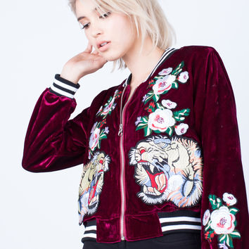 On the Prowl Velvet Bomber Jacket