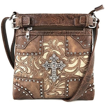 Justin West Tooled Gleaming Turquoise Stone Floral Laser Cut Rhinestone Messenger Bag Purse with Long Cross Body Strap