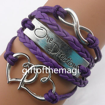 Double heart,One Direction & infinity karma Charm Bracelet Antique silver-- wax cords braid Leather bracelet,the best friendship gift.965