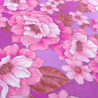 vintage fabric pink magnolia synthetic by thriftypyg on Etsy