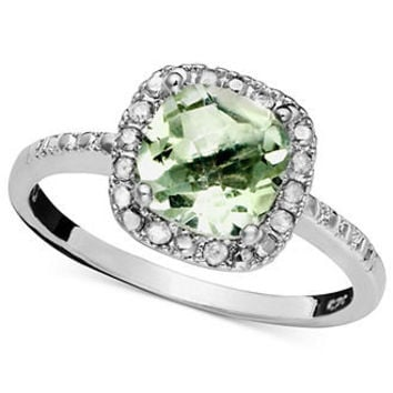 Victoria Townsend Sterling Silver Ring, Green Quartz (1-1/4 ct. t.w.) and Diamond (1/10 ct. t.w.) - Rings - Jewelry & Watches - Macy's