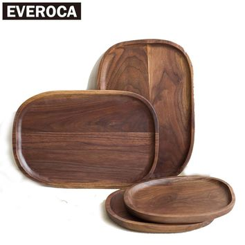 walnut wood tray oval round irregular natural lunch dinner plate fruits dish restaurant home service tray