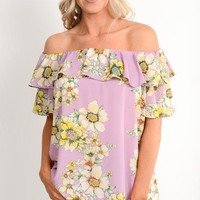Lavender Floral Off Shoulder Top