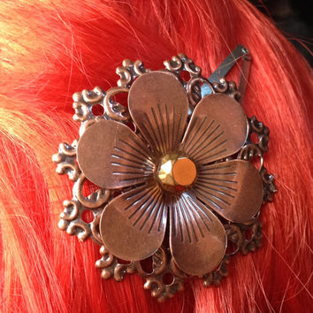 Steampunk Copper Hair Clip, Steampunk Flower Hair Clip, Steampunk Hair Accessories, Steampunk Hair Bow, Vintage Hair Clip, Industrial Hair
