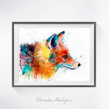 Fox 2 watercolor painting print, fox art,animal art, illustration, animal watercolor, animal painting, animal portrait, fox illustration,