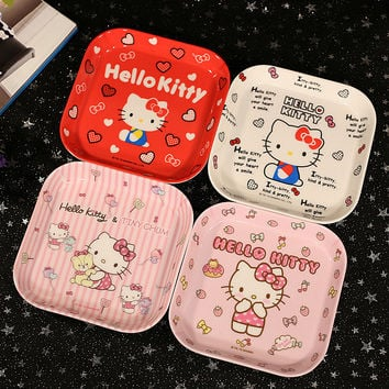 Keythemelife Kitchen Hello kitty Food Fruits Dinner Plates Melamine Multi-style Cartoon Square Plate Kids Funny Dishes D7