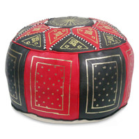 Red / black Fez Moroccan Leather Pouf Round Genuine Leather