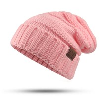 Winter Hat female Male Unisex knitted Skullies Casual Hat For Men Women CC labeling Solid pink Skullies Autumn Beanies Caps