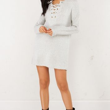 Soft Lace Up Sweater in Heather Grey