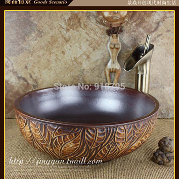 Round Bathroom Ceramic Counter Top Wash Basin Cloakroom Above Counter Vanity Vessel Sink Wash Bowl JY-20140501