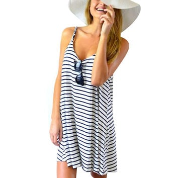 Women Sleeveless Striped Dress Loose Casual Mini Dress Beach Party Sundress Wear To Work Stretch Slim Vestido 2016