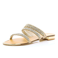 River Island Womens Pink leather rhinestone embellished sandal