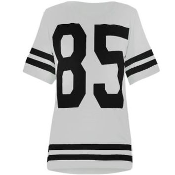 Womens Oversize 85 Football Style Jersey T-shirt (Sty) (4/6 (uk 8/10), White)