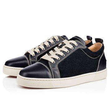 Best Online Sale Christian Louboutin Cl Louis Junior Men's Flat Navy Leather 18s Shoes 1180031bl1u