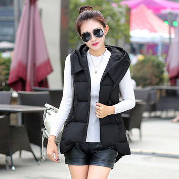 Women Winter Fashion Padded Down Vest with Hat [9378738436]
