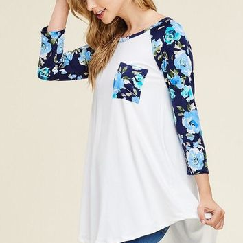Raglan, Floral and Solid Baseball Tee With 3/4 Sleeves