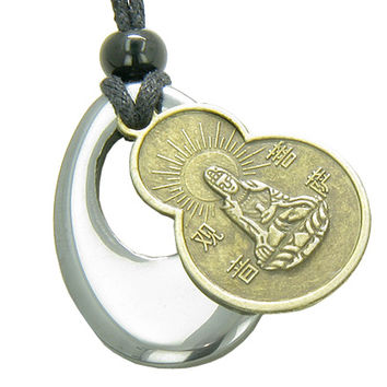 Magic Circle Kwan Yin Quan Tibetan Protection Talisman Pendant Necklace